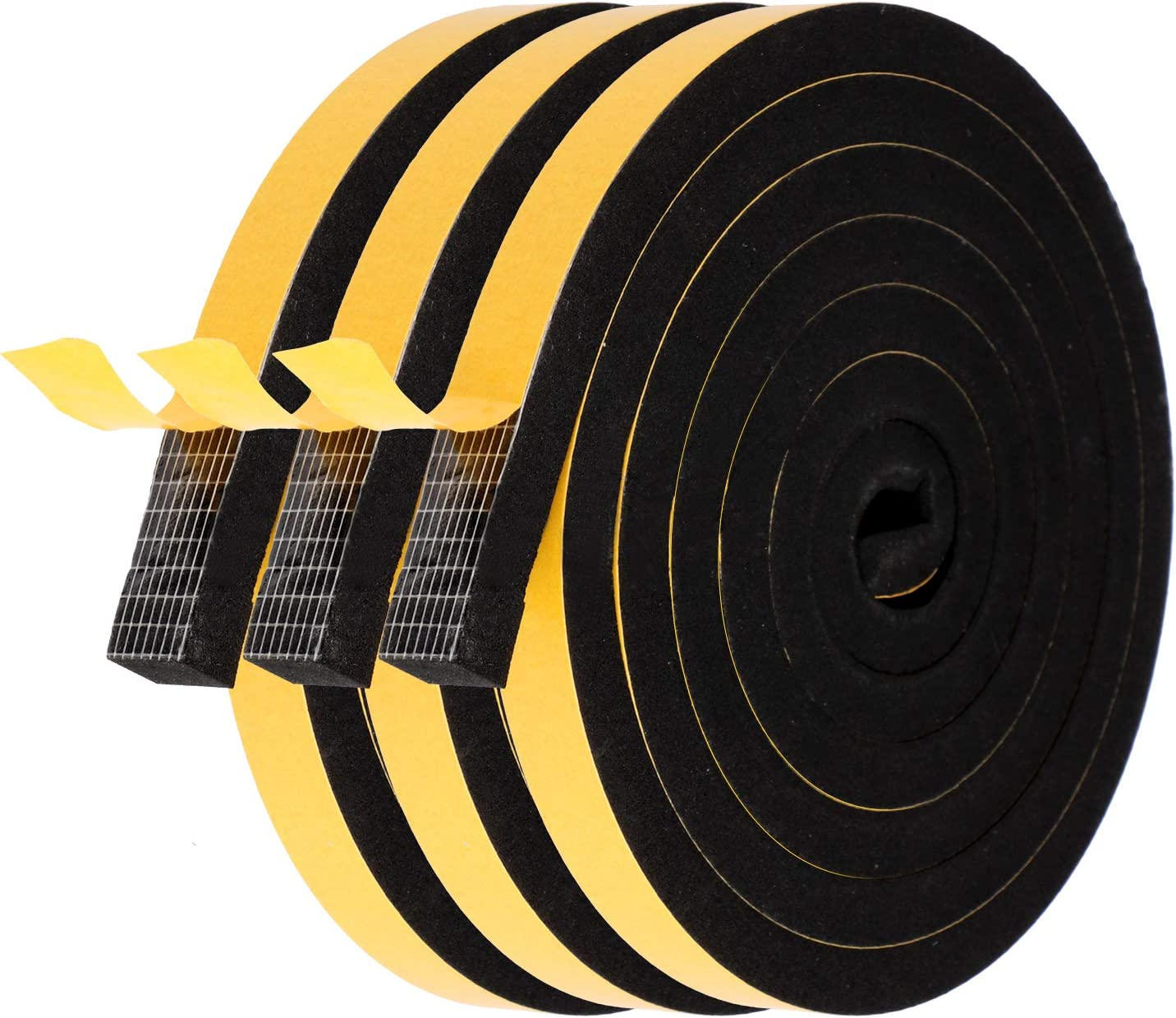 Foam Seal Strip-3 Rolls, 1/2 Inch Wide X 3/8 Inch Thick Total 20 Feet Long, Self Adhesive Weather Stripping for Doors Insulation Soundproofing Closed Cell EPDM Foam Tape Window Seal(6.5ft x 3 Rolls)