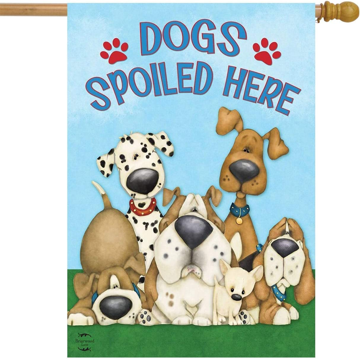 "Briarwood Lane Dogs Spoiled Here House Flag Everyday Humor Bulldog Dalmation Hounds 28"" x 40"""