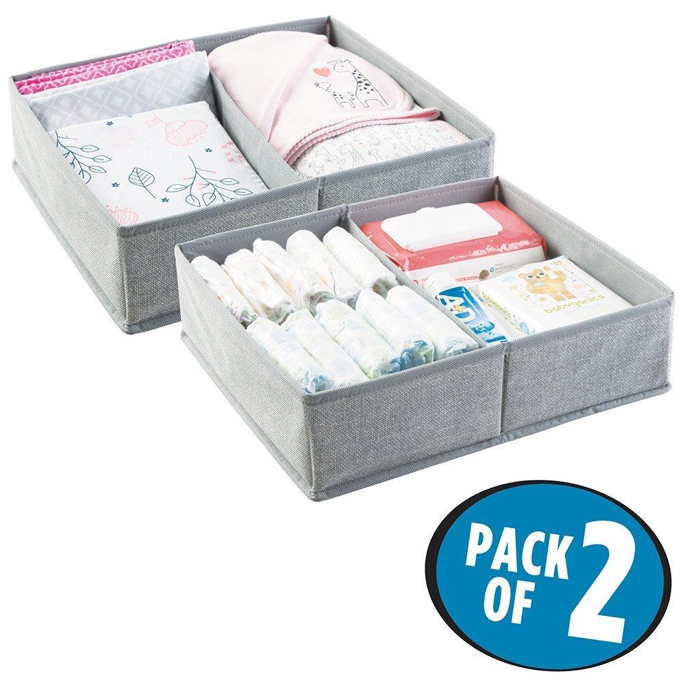 mDesign Cajas almacenaje juego de 2 – 2 Cajas organizadoras con 2 compartimentos – Cajas almacenaje ropa en plástico – Color: gris MetroDecor