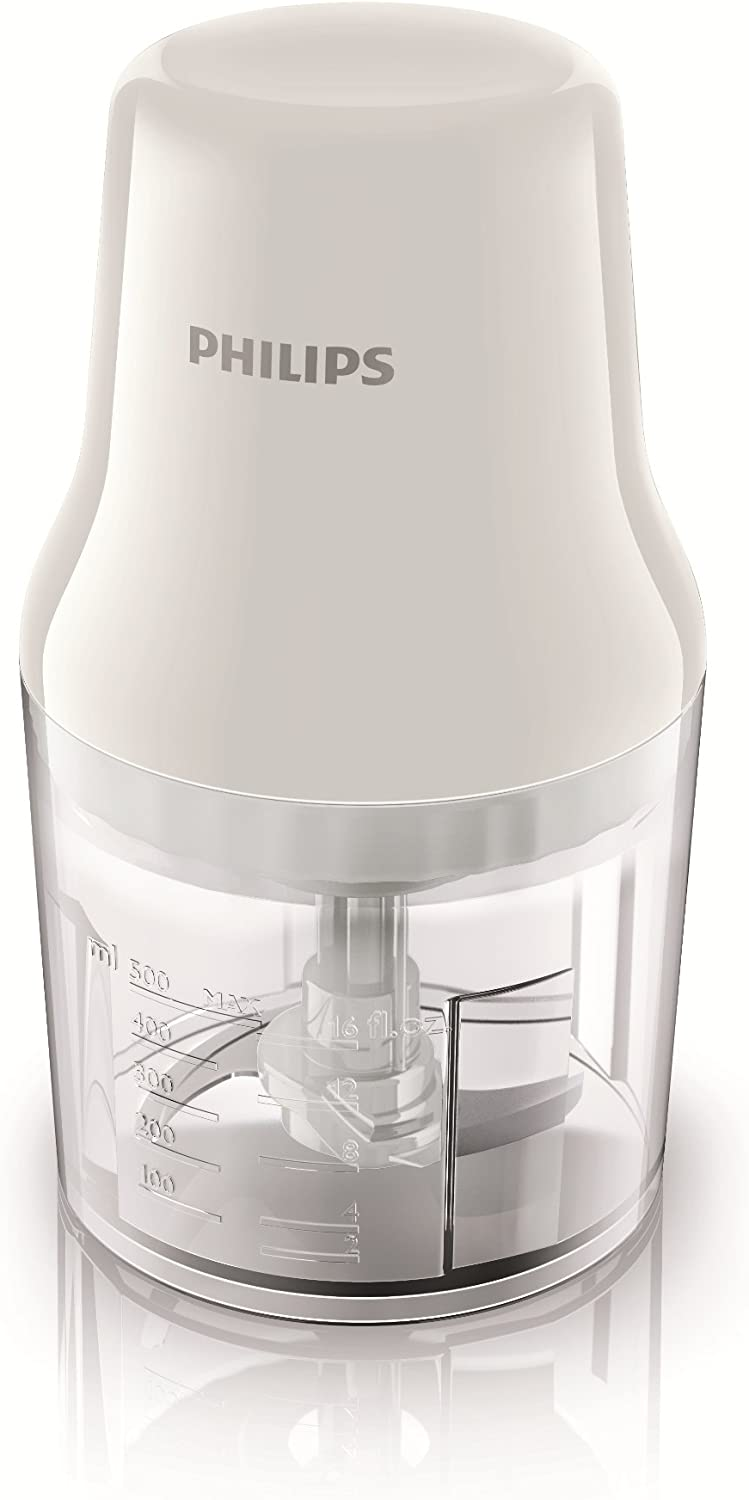 Philips Daily HR1393/00 - Picadora, 450 W, 0.7 L, Blanco / Transparente