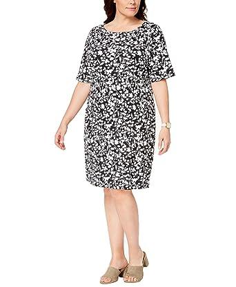 78a93aeb30bb Karen Scott Plus Size Printed Shift Dress at Amazon Women's Clothing ...