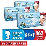 Sanita Bambi Baby Diaper Giant pack, Medium, 5-9kg, (108 + 54 free) Count