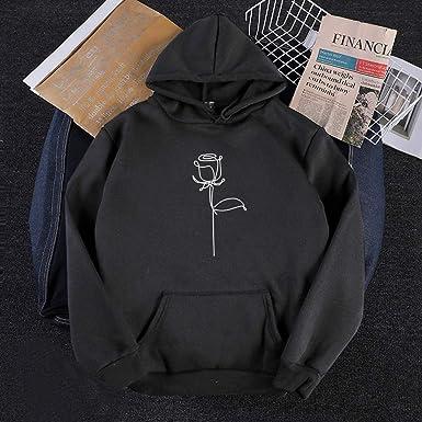 fesfesfes Womens Fleece Hoodie with Pockets Pullover Hooded Sweatshirt Rose Graphic Printed Long Sleeve Tops Tracksuit