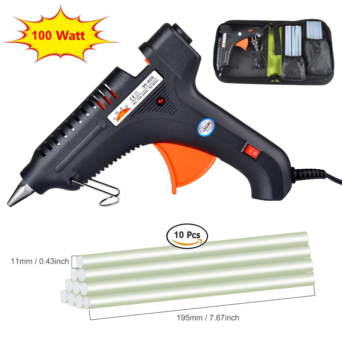 100% Safe Hot Melt Glue Gun with Rapid Heating Technology Flexible Trigger for DIY Small Arts Craft Projects Household& Sealing and Quick Repairs(10pcs Glue Sticks & Carry Case) 100W