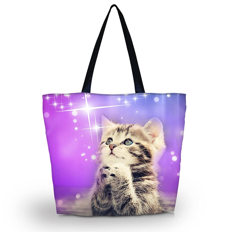 bbee1f78dd26 Amazon.com  Beach Tote Bags Travel Totes Bag Shopping Zippered Tote for  Women Foldable Waterproof Overnight Handbag (Wish cat)  newplenty