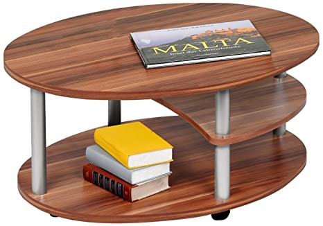 Alfa-Tische M2082 Primo - Mesita de centro (91 x 70 cm, madera de haya, ruedas, forma ovalada)