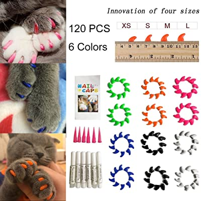 YYYux Cat Nail Caps 120PCS Soft Rubber Pet Paws Claws Nail Covers 6 Colors
