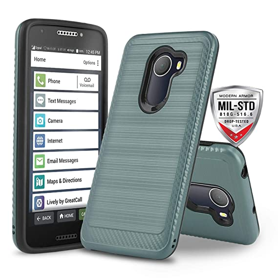 super popular 88d02 1a712 Phone Case for [Jitterbug Smart 2 (GreatCall)], [Modern Series][Air Force  Blue] Shockproof Dual Layer Hybrid Hard Cover [Defender] for Jitterbug  Smart ...