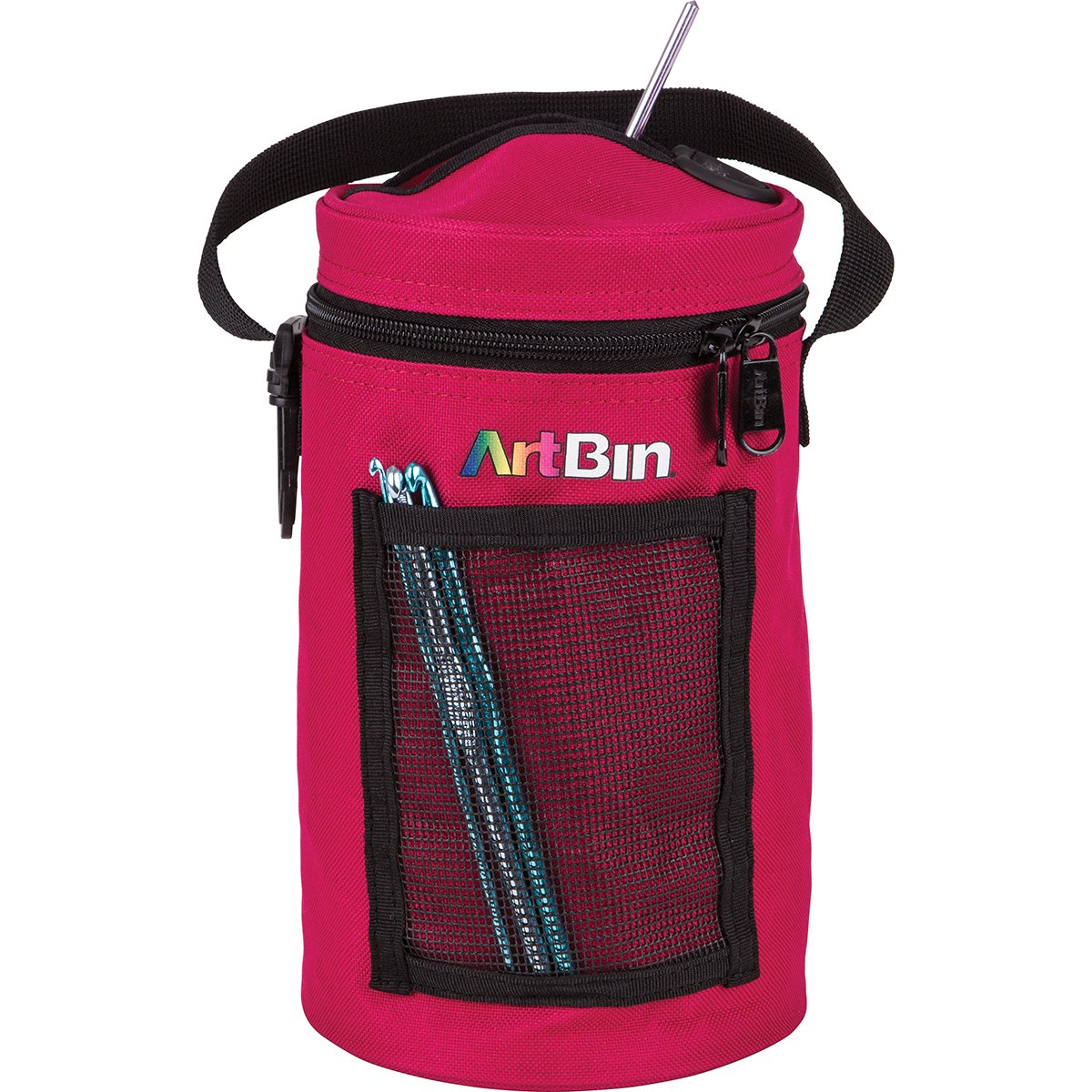 ArtBin Mini Yarn Drum Knitting and Crochet Tote Bag, Raspberry 6831AG,