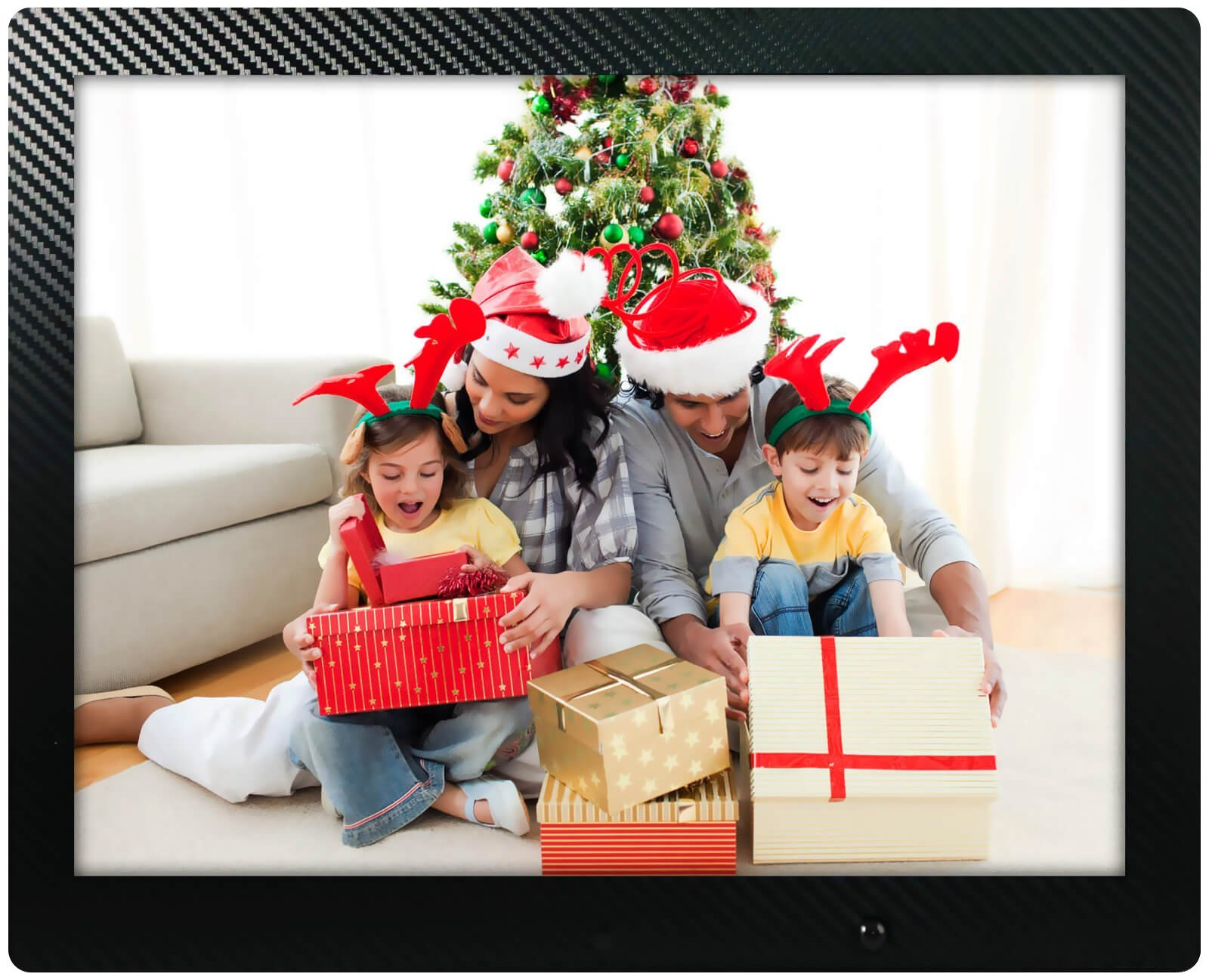 12 inch HD Digital Picture Frame Carbon Fiber - 1080p High Definition Electronic Photo Frame With Video, 16GB Memory, Motion Sensor, Built-In Speakers & Remote Control - (Black) by Spiro Goods (Image #1)