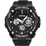 ETEVON Men's 'Captain' Stylish Outdoor Sport Watch, Real 30M Waterproof EL Backlight Military Time, Quartz Analog and Digital Watches for Men - Black