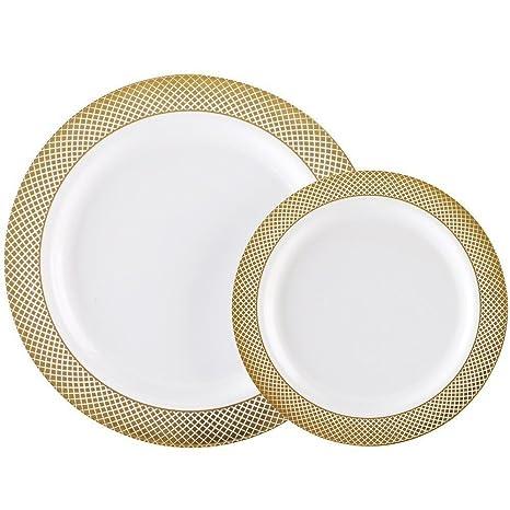 60PCS Heavyweight White with Gold Rim Wedding Party Plastic PlatesDinnerware Sets30-  sc 1 st  Amazon.com & Amazon.com: 60PCS Heavyweight White with Gold Rim Wedding Party ...