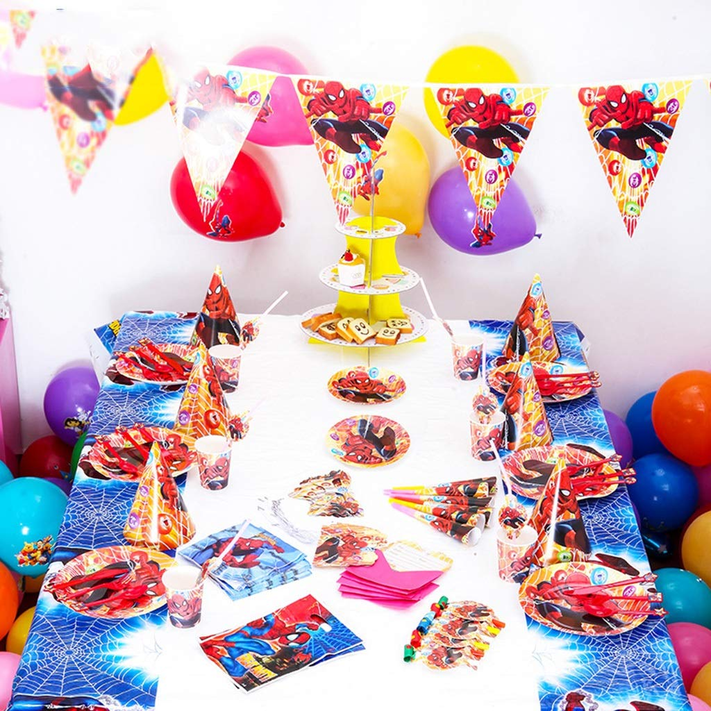 YSYYSH Cartoon Theme Dressing Tableware Birthday Party Arrangement Dessert Table Cake Plate Cutlery Children 14 Piece Set Disposable Paper Products Disposable Decorations