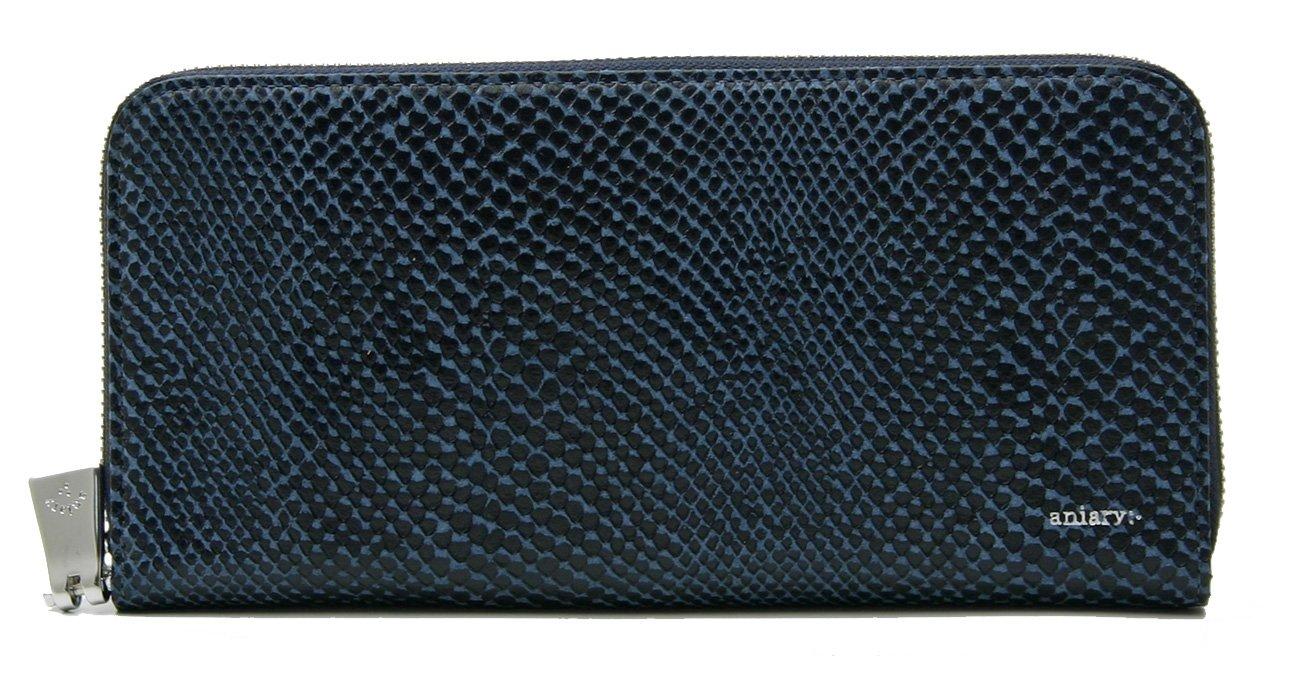 アニアリ 長財布 aniary ラウンドファスナー Scale Leather 18-20003 B07BLRX8Z6 ダークブルー ダークブルー