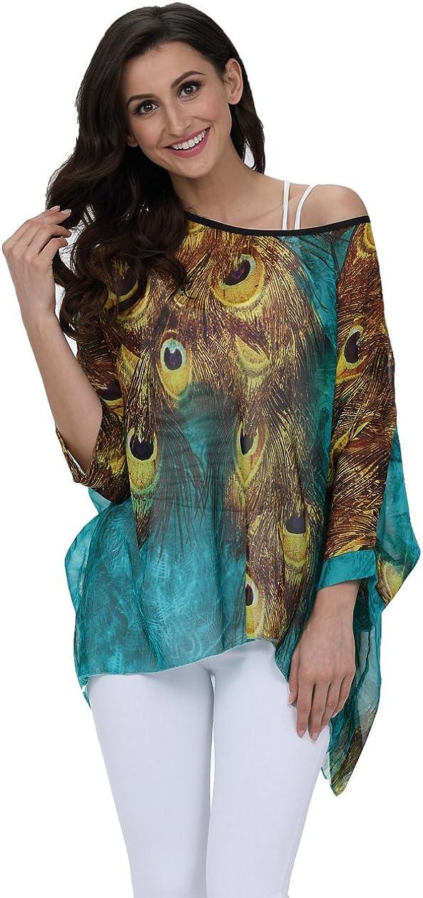 Feelme Maglietta Manica 3//4 Bohemian Chiffon Blusa Taglie Forti T Shirt Stampa Camicetta Donna Estate