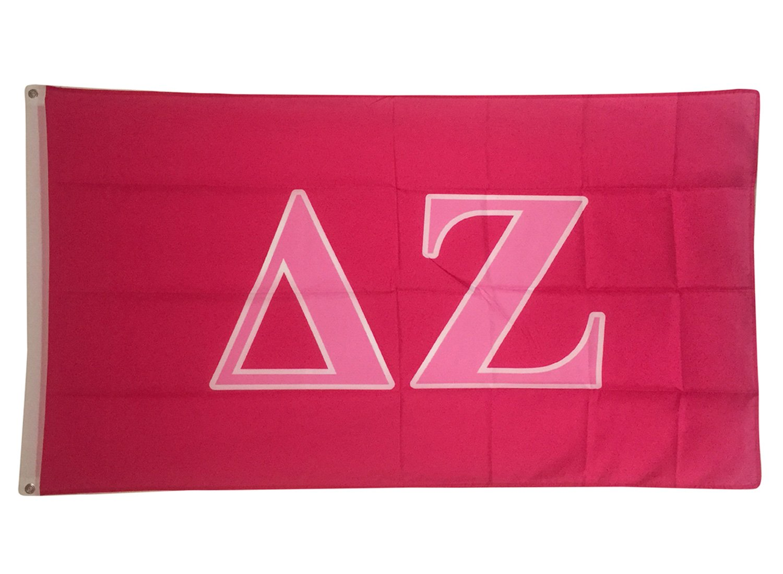 Delta Zeta Dark Pink/Light Pink Letter Sorority Flag Banner Greek Letter Sign Decor dz