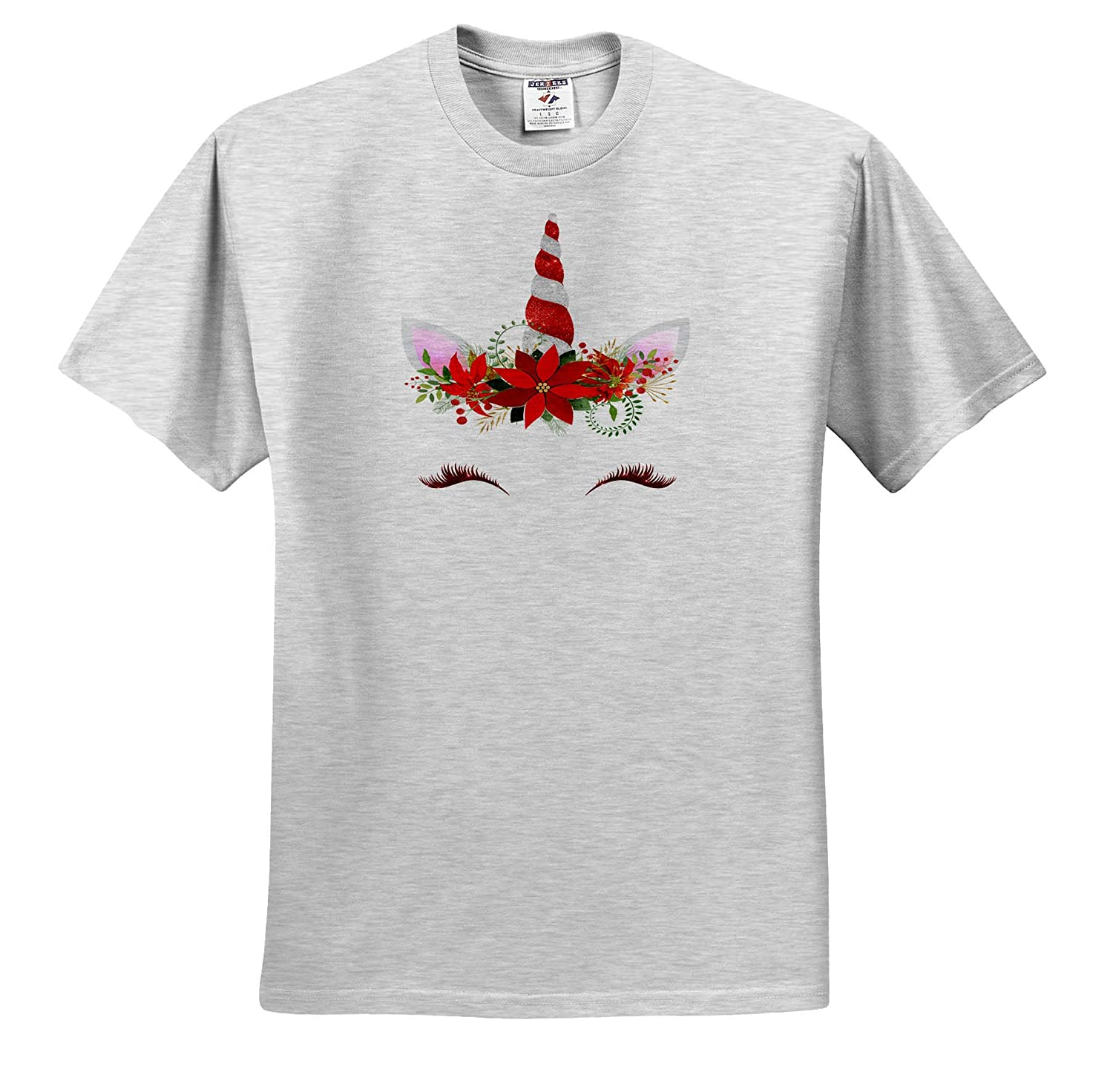 3dRose Anne Marie Baugh Cute Red Christmas Unicorn Face Illustration Adult T-Shirt XL ts/_318486 Christmas
