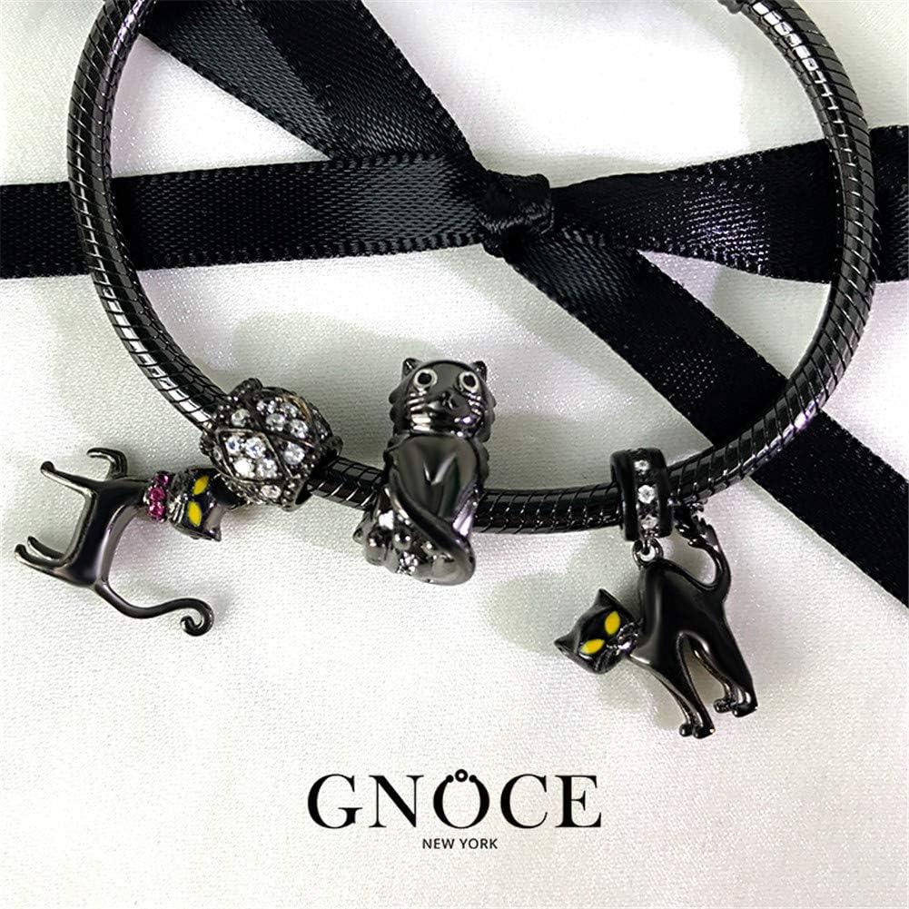 GNOCE Femme Charms Pendentif de Chat /à Double Face en Argent Sterling 925Chat de Schr/ödinger Breloque avec Zircone Cubique Compatible avec Bracelets et Colliers