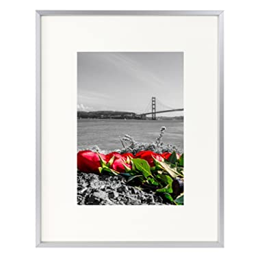 Frametory, 8x10 Table-Top Metal Picture Frame Collection, Aluminum Photo Frame with Ivory Color Mat for 5x7 Picture & Real Glass (Silver)