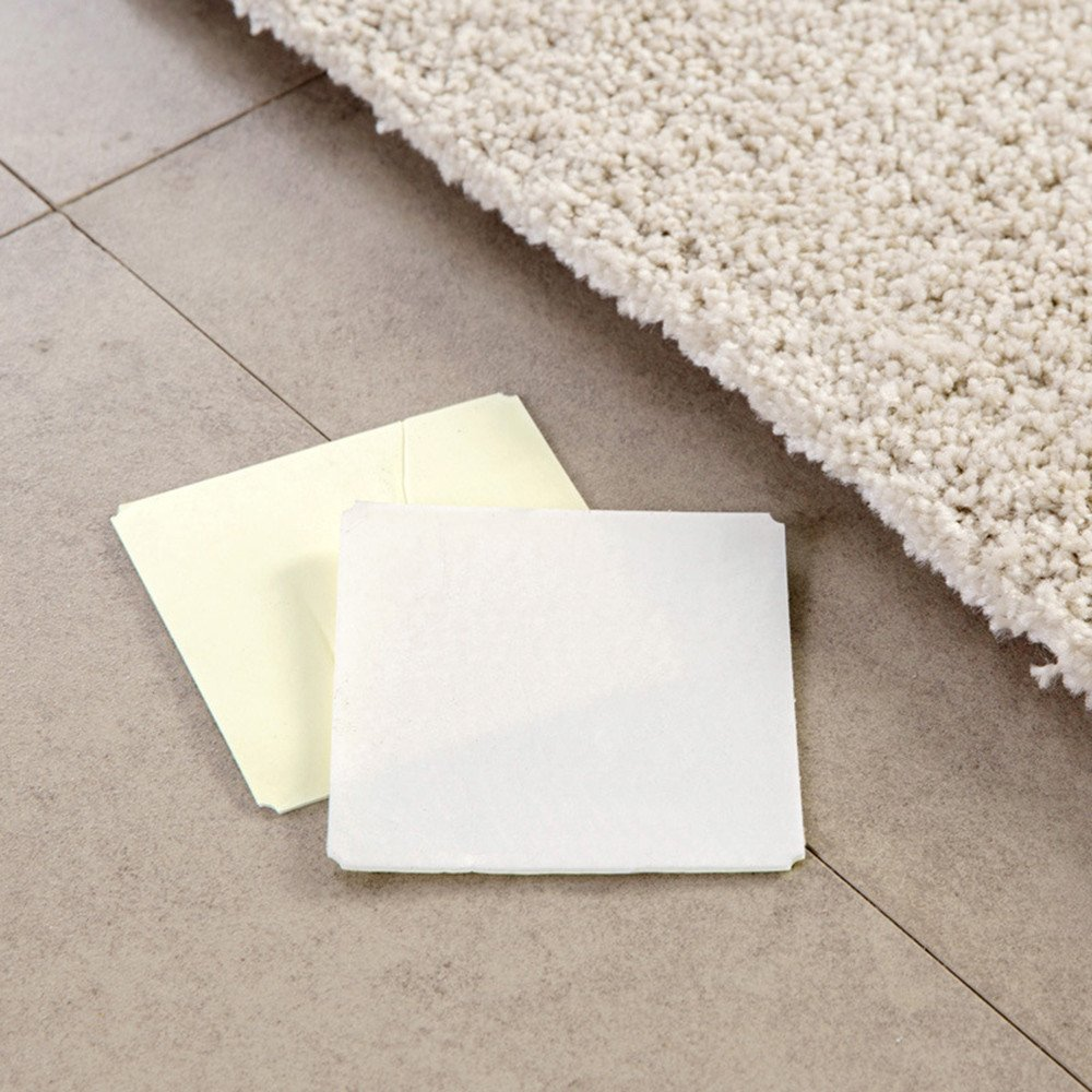 Rug Grippers FunDiscount 4 Pack Non Slip Carpet Gripper Anti Curling Rug Pad Double-Sided Adhesive Stcikers Anti Slip Mat Pads Reusable Flooring Rug Tape for Hardwood Floors White Area Rugs