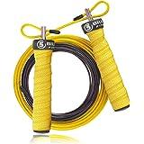 5BILLION Cuerda de Salto de Velocidad - Doblado - Ajustable con Rodamientos de Bolas - Entrenamiento para Los Dobles Unders, WOD, Al Aire Libre, MMA & Boxeo Formación