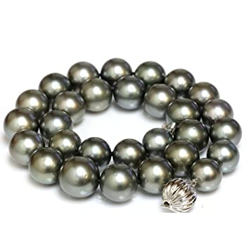 Tahitian South Sea Pearl Necklace 16 - 13 mm Rich Gray set with 14k Solid 13mm Flutted Clasp