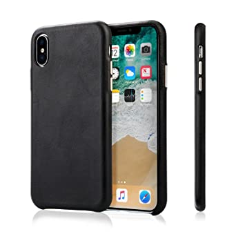 iPhone X Case, Jisoncase Genuine Leather Case with Aluminum Buttons for  Apple iPhone X Slim