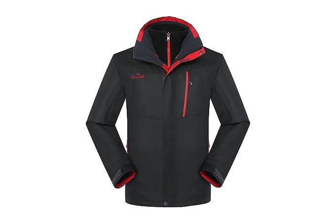 1b7462205 SHANDIREN Men's Waterproof Mountain Jacket Windproof Hiking 3-in-1 Jackets  with Removable Inner