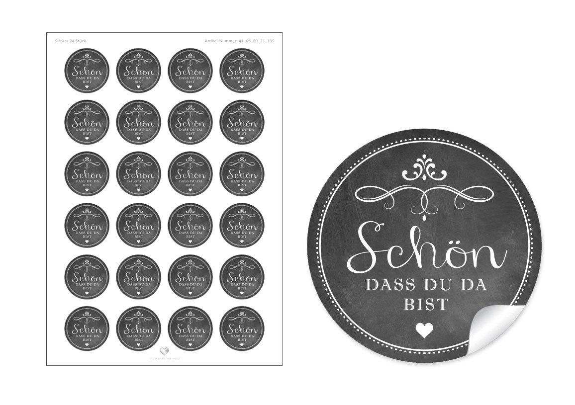 24 STICKER: Sch/öne Etiketten imKreide-Tafel-Look in anthrazit//schwarz mit Herz und OrnamenteSch/ön dass du da bist F/ür Geschenke oder Tischdeko zu jedem Anlass 4 cm, rund, matt