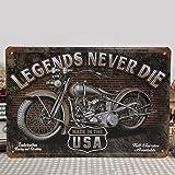 KING DO WAY ''Legends Never Die'' Plaque en métal Plaque métal Rétro Déco 30 X 20cm
