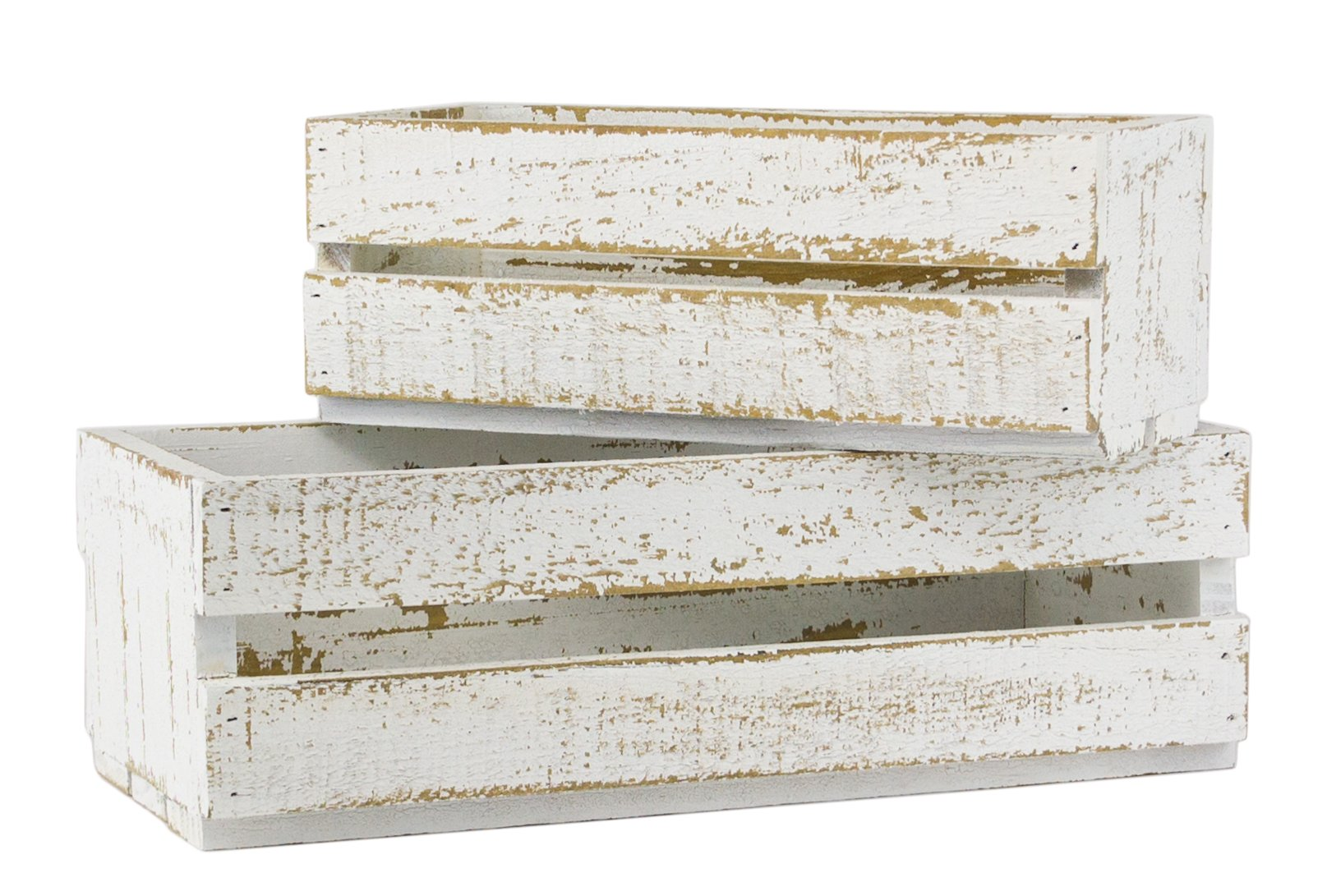 Farmhouse Distressed White Wooden Crates for Vintage Shabby Chic Home Decor, Set of 2