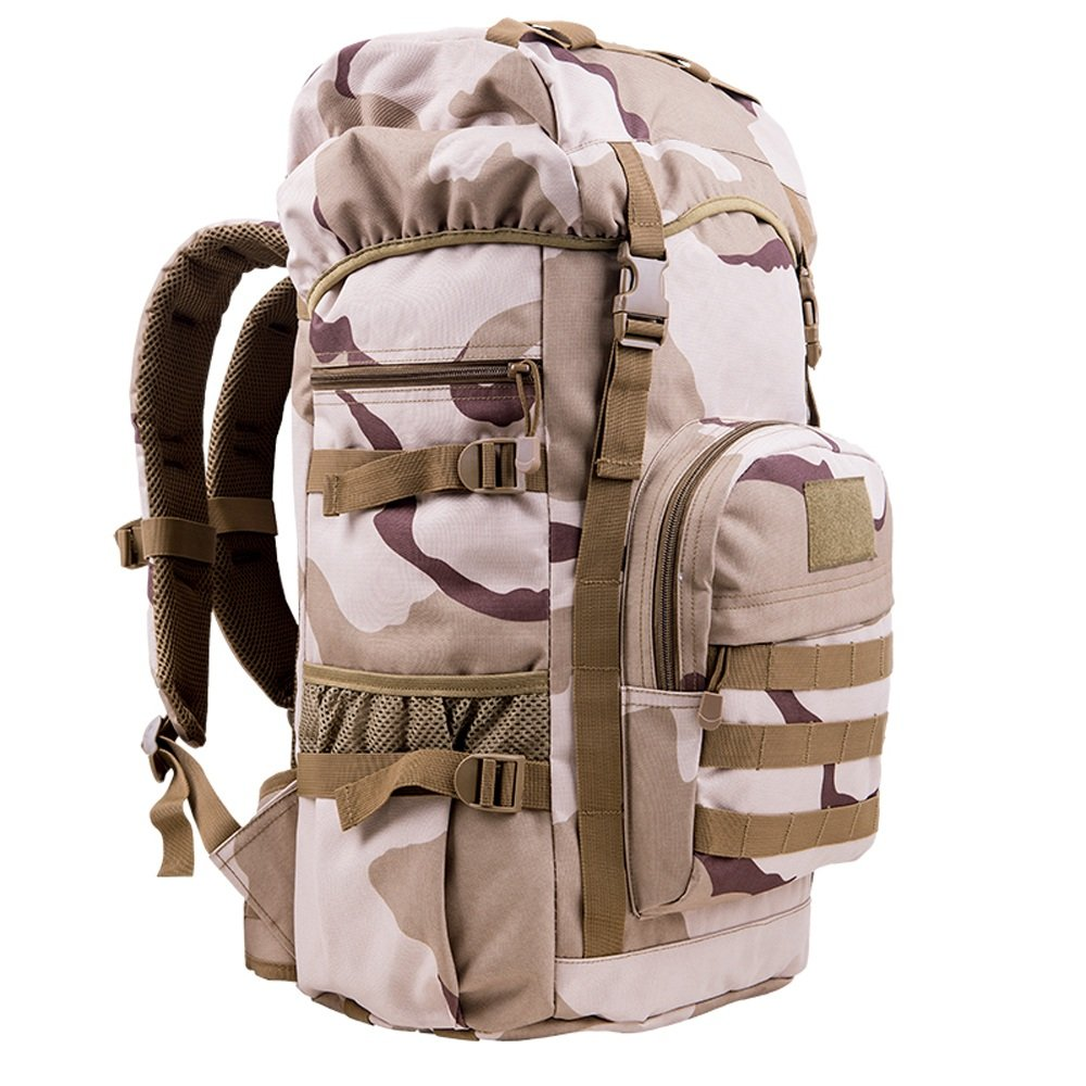 Zmsdt Outdoor Mountaineering Bag 50L Men and Women Shoulder Bag Travel Large Capacity Backpack Travel Sports Bag Camouflage Bag Computer Bag (Color : Khaki) ZMSDT-HL