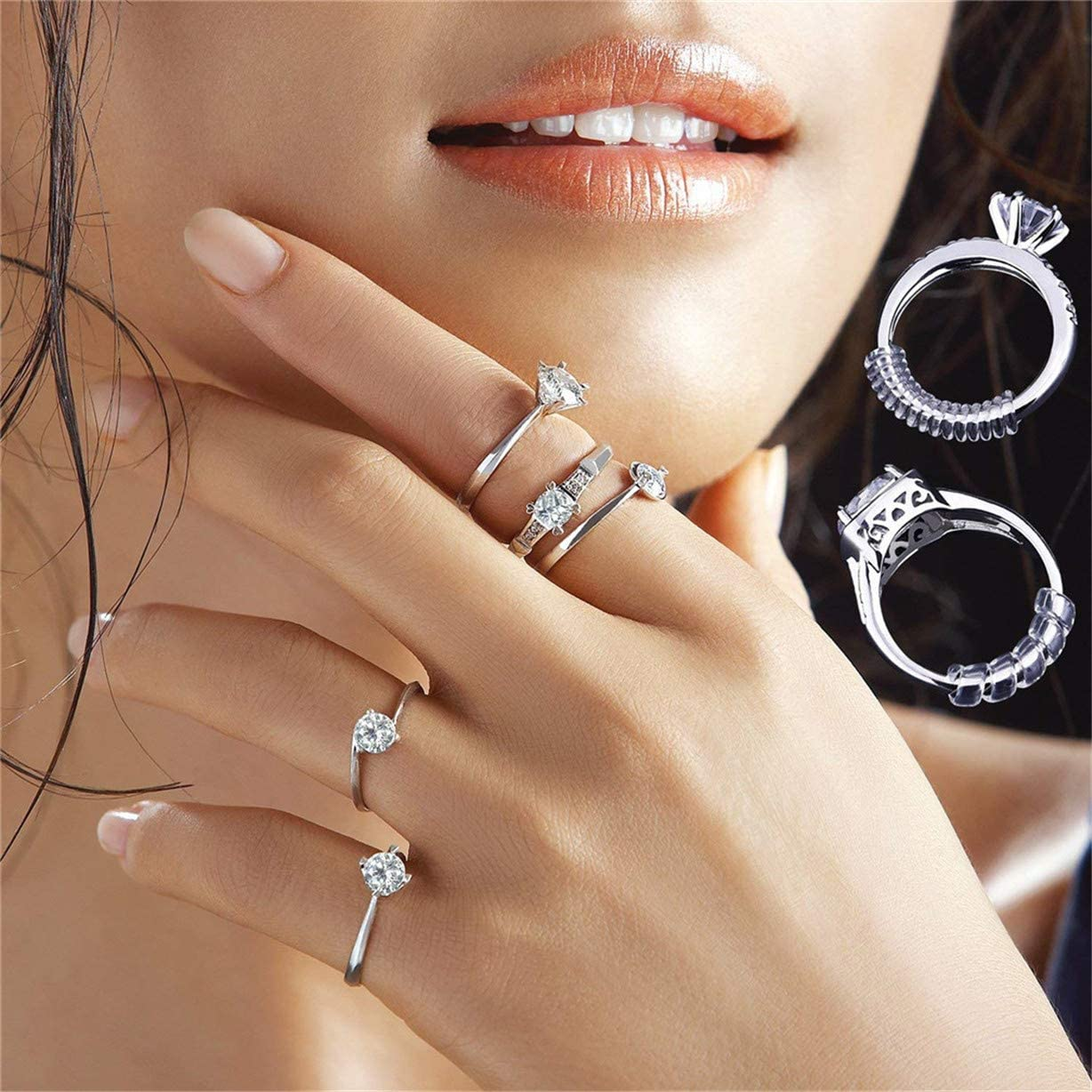 Fitter for Women Loose Rings Invisible Silicone Ring Guard Clip Jewelry Tightener Resizer Ring Size Adjuster for Loose Rings Fit Almost Any Ring 4 Sizes 8 Pack