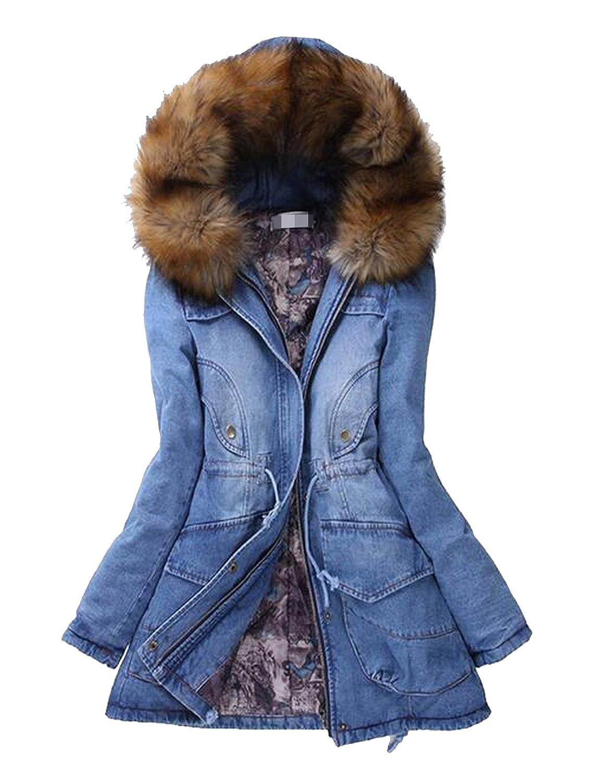 Ovetour Womens Hooded Warm Winter Faux Fur Lined Parkas Long Coats