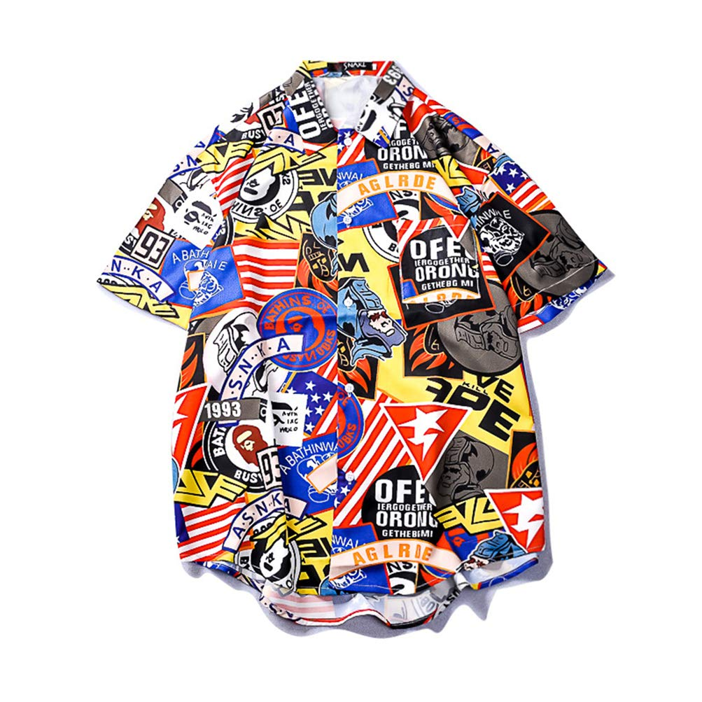evening mist Mens Tropical Short Sleeve Floral Print Beach Hawaiian Shirt