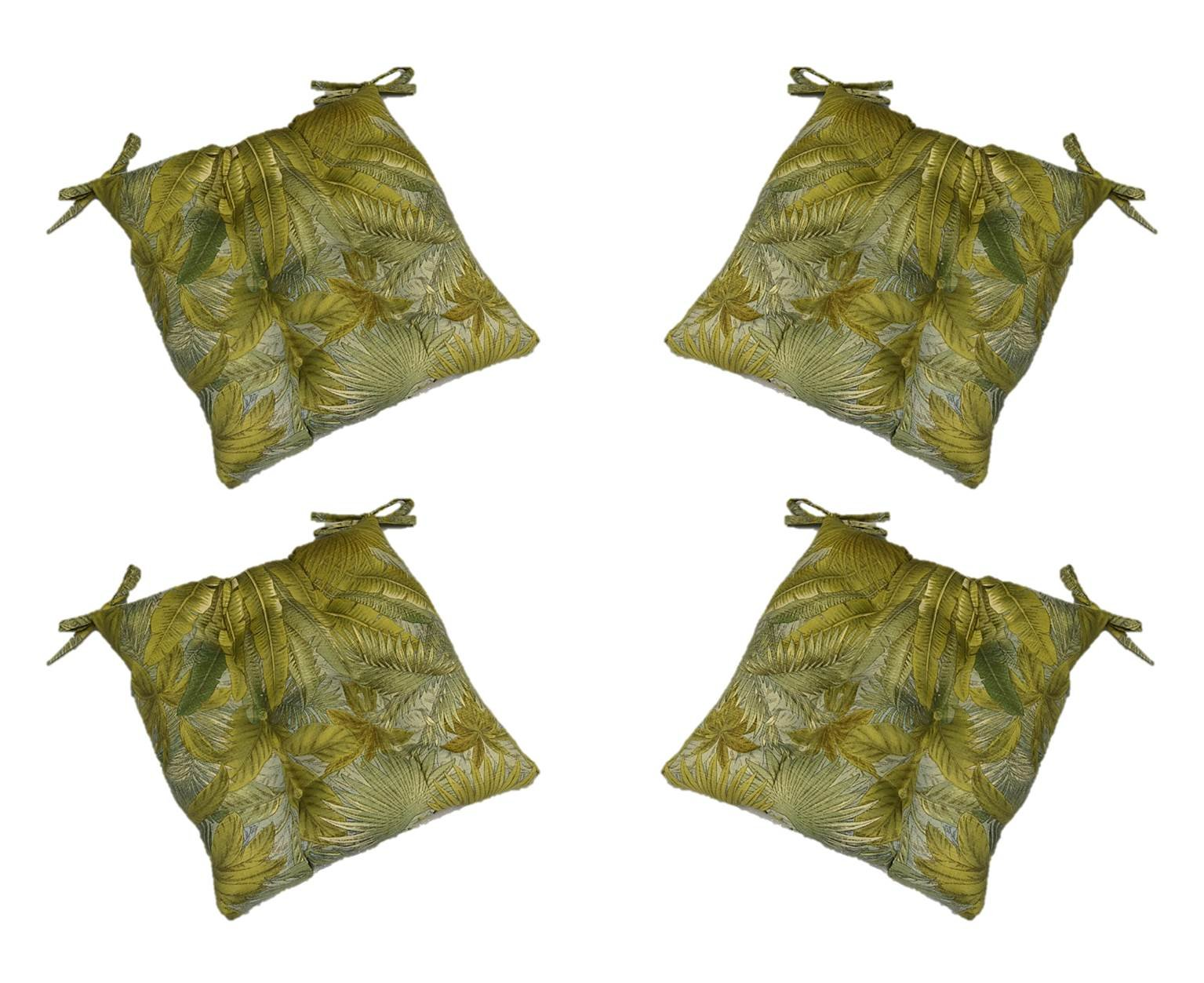 Set of 4 - Indoor / Outdoor Tommy Bahama Blue Green Tan Tropical Palm Leaf Print Universal Tufted Seat Cushions with Ties for Dining Patio Chairs - Choose Size (20'' x 18'')