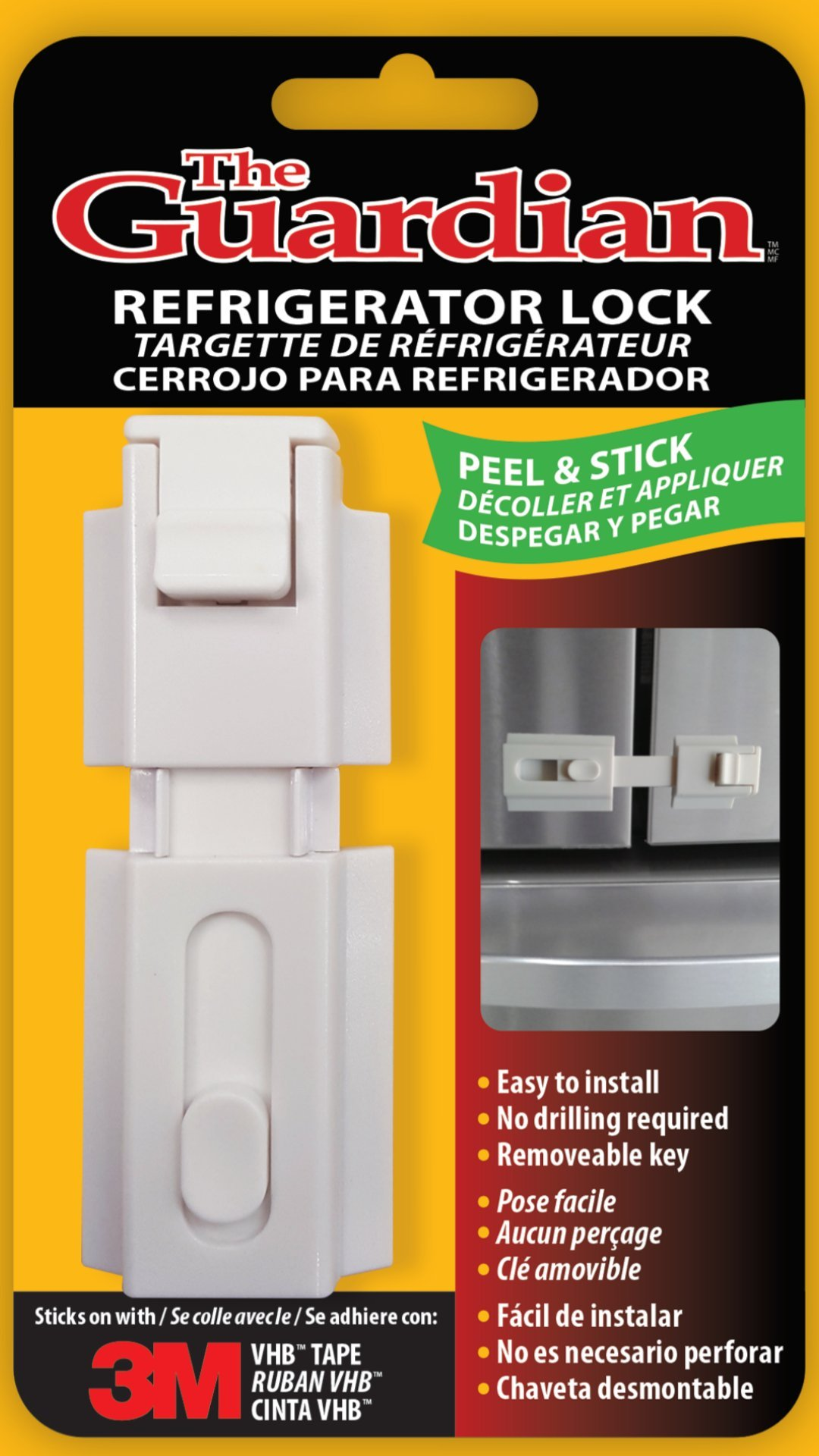 The Guardian Refrigerator Lock for any Home Appliance, used for Infants, Special Needs Children and Dementia Patients (White) by Door Guardian (Image #3)