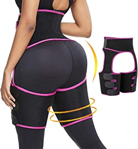PHIONXEI Sweat Band Waist Trainer for Women Weight Loss Everyday Wear,3 in 1 Waist Thigh Trimmer and Butt Lifter for Women,Neoprene Slimming Body Shaper Waist Trimmer for Women Lose Belly Fat