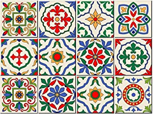 Morocco Mexico Style Peel and Stick Wall Sticky Backsplash Vinyl Waterproof Removable Tile Sticker Decals for Bathroom & Kitchen 6X6inches (15cmX15cm) 12 PC Pack (6x6', Italian Vintage)