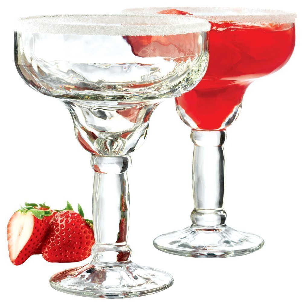 Margarita Glass 13.5oz. Set of 6 - Uniquely Shaped Margarita Glass Set for Women Thick Stems, An Elegant Appeal! Their Bold Sombrero-Inspired Shape Takes You South-of-the-Border., A Classic Choice by USA_Glassware_Margarita