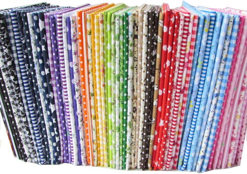 56 unidades por lote de tela de algodón con estampados florales para manualidades (25 x 25cm), diseños no repetidos, tela de costura para manualidades