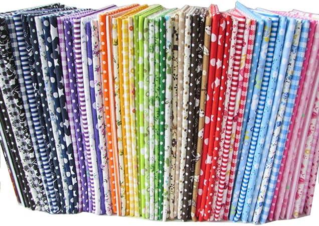 56 unidades por lote de tela de algodón con estampados florales para manualidades (25 x 25 cm), diseños no repetidos, tela de costura para manualidades: Amazon.es: Hogar