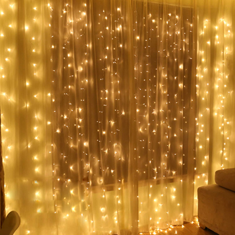 IDESION Tenda Luminosa 300 LED 3M x 3M Tenda Luminosa Esterno Impermeabile IP44 Tenda Luci Natale 8 Modalità Tenda Di Luci Esterno Natale [Classe di efficienza energetica A+] - Bianco Caldo