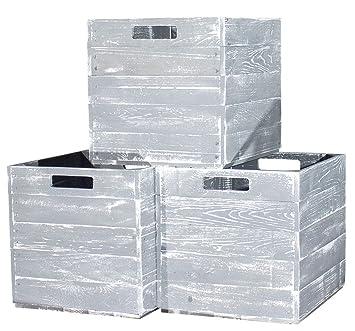 Vinterior 4 Stück Holzkisten Grau Für Kallax Regale 33x38x33cm Ikea