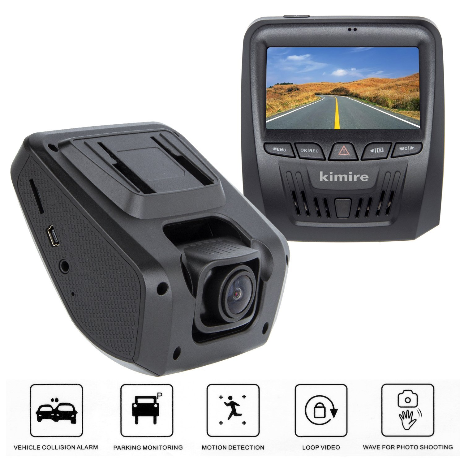 Car Dash Cam,Kimire Dashboard Onboard Camera Camcorder Driving Video Recorder Full HD 1080P,Starlight Night Vision,G-Sensor,150° Wide Angle,WDR,Motion Detection,Parking Monitor,Loop Recording