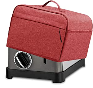 INMUA Toaster Cover 2 Slice with 2 Pockets, Toaster Appliance Cover with Top handle, Dust and Fingerprint Protection, Machine Washable (Red)