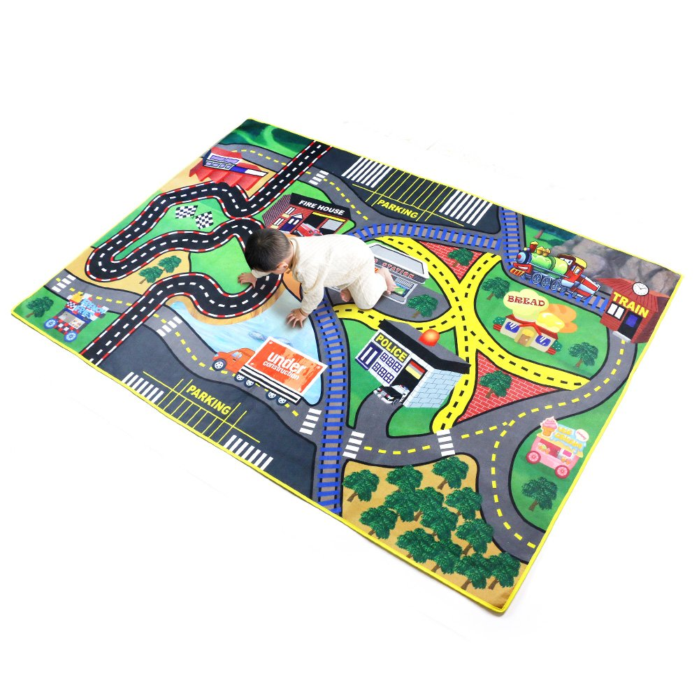 The bananmelon Children Carpet Playmat Rug Pretend-City, 37x 57 Car Rug Road Carpet for Classroom Playroom Bedroom, Safe and Interesting for Kids Playing with Cars and Toys, Boy and Girl's Gift Boy and Girl' s Gift