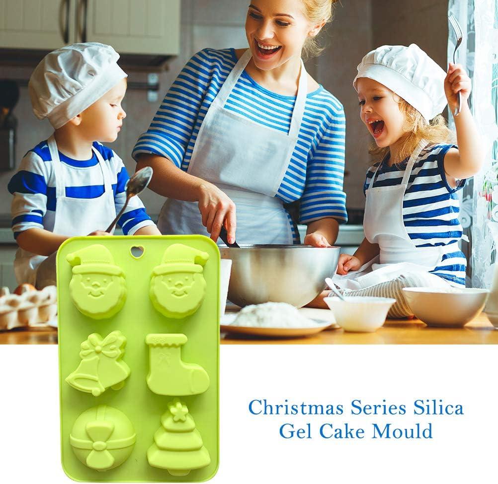 Yissma 3pcs New Santa Claus Silicone Cake Mold Christmas Tree Cartoon Old Head Silicone Handmade Soap Mold Diy Die