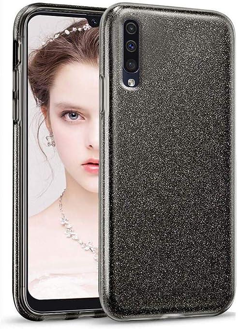 """Image ofCoovertify Funda Purpurina Brillante Negra Samsung A70, Carcasa Resistente de Gel Silicona con Brillo Negro para Samsung Galaxy A70 (6,7"""")"""