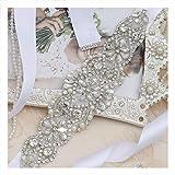 Yanstar White Sash Crystal Applique Wedding
